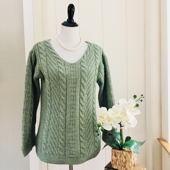 43840f89f03fb1 Aran Crafts Sweaters - ARAN CRAFTS Jade Green Irish Merino Wool Sweater